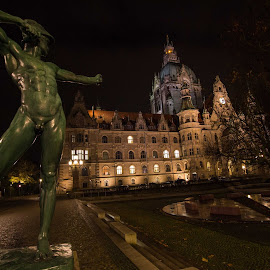 Pointing at by Prajwal Ullal - Buildings & Architecture Office Buildings & Hotels ( townhall, nightphotography, germany, hanover, statue, travel, canon,  )