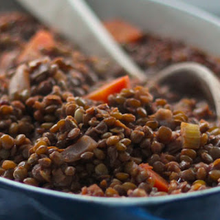Lentils Stewed in Tomatoes and Red Wine