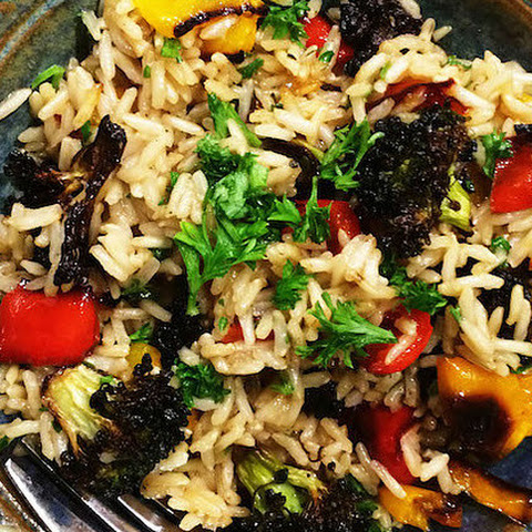 Easy Brown Rice Pilaf With Broccoli, Peppers And Parmesan