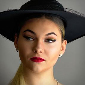 Kornelija by Dunstan Vavasour - People Portraits of Women ( studio, model, beauty, minimalist, hat,  )