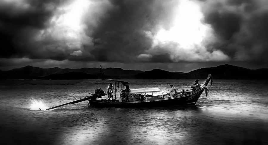 Phuket by Abdul Rehman - Black & White Landscapes ( clouds, thailand, sea, phuket, boat,  )