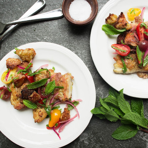 Pan Fried Chicken with Mint Panzanella