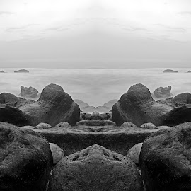 Stones and rocks by Davide Almeida - Landscapes Beaches ( shore, sky, nature, rocky, tide, cloudy, sea, long exposure, seascape, beach, landscape, stones, rocks )