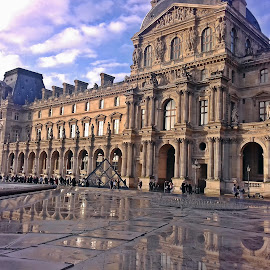 Louvre at sunset by Ciprian Apetrei - Instagram & Mobile Android ( paris, reflection, building, mobile photos, architecture )