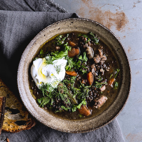 Lentil Soup with Sausage and Mustard Greens
