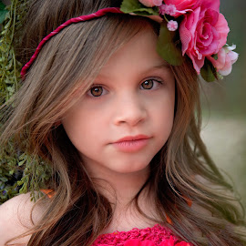 Brown eyes by Carole Brown - Babies & Children Child Portraits ( brown eyes, little girl, floral headband, brown hair )