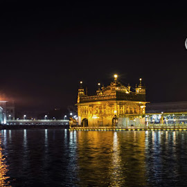 Golden Temple under moon by Sarang Bhagat - Buildings & Architecture Places of Worship ( #sikh, #golden, #photo, #peace, #architecture, #shiny, #sikhism, #fullmoon, #beautiful, #moon, #religion )