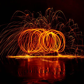 Pumpkins by Brenda Hooper - Abstract Fire & Fireworks ( orange, pumpkins, fireworks, yellow,  )