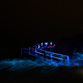 Beach stairs in blue by Gill Fry - Abstract Light Painting ( light painting, night photography, night scene, blue, night, beach, night shot, serenity, mood, factory, charity, autism, light, awareness, lighting, bulbs, LIUB, april 2nd )