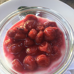 Vanilla yogurt with cherry compote