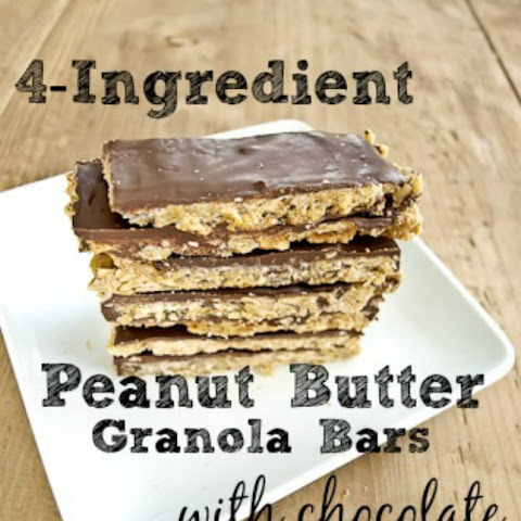 4-ingredient Peanut Butter Granola Bars with Chocolate