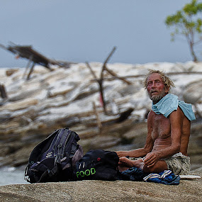 Alone and Homeless by Adrian Choo - People Portraits of Men