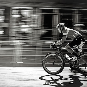 Riding Fast  - B&W by Garry Dosa - Black & White Sports ( black & white, racing, sports, blur, cycling, people, speed, panning, b&w, fast, outdoors, tour de white rock, men, action, competitive, bicycles, sport )
