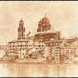Passau by Alessandro Calzolaro - Digital Art Places ( elaboration, passau, vista, photo, painting, retouch, drawing )