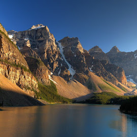 The beautiful mountains and the lake by Adrian Morejon - Nature Up Close Rock & Stone