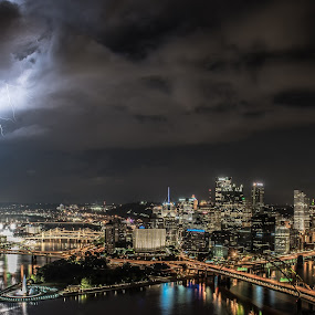 The Bolt! by Jeremy Jordan - City,  Street & Park  Skylines ( lightning, lightning bolt, night photography, pittsburgh, weather, nikon d810, long exposure, cityscape )