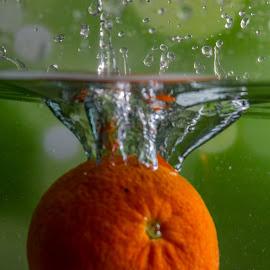 Tangerina by Adriano Freire - Food & Drink Fruits & Vegetables ( mergulho, water, orange, tangerina, splash )