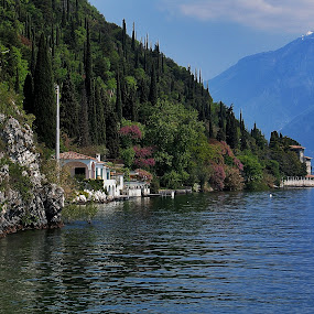 At the Garda Lake by Ingrid Dendievel - Landscapes Waterscapes ( water, mountain, nature, lake, landscape, garda lake, italy )