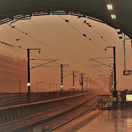 Sun .......about to rise  by Mukesh Kumar - Transportation Trains