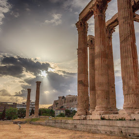 The Temple of Zeus by Diogo Ferreira - Buildings & Architecture Public & Historical ( clouds, hdr, greece, athens, temple of zeus, day, architecture,  )