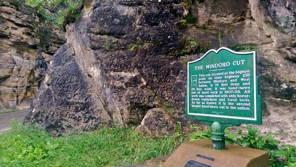 THE MINDORO CUT This cut, located at the highest point on state highway 108between Mindoro and WestSalem, is 74 feet deep and25 feet wide. It was hand-hewnout of hard rock in 1907-08. Allwork ...