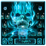 Neon Skull Flame Keyboard Icon
