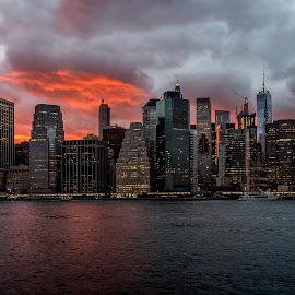 Manhattan Sunset by Parrish Colman - Landscapes Sunsets & Sunrises ( sunset, manhattan, cityscape, new york, seascape, brooklyn )