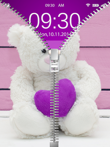 android Cute Teddy Bear Zip Lock Screenshot 9