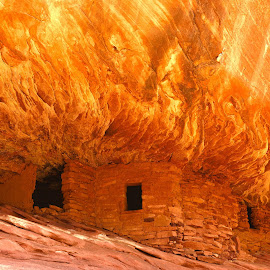 House on Fire by Jeff Tomchak - Landscapes Deserts ( house on fire ruin, pueblo, ruins, mule canyon, anasazi )