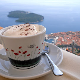 the best morning by Veronika Hughes - Novices Only Objects & Still Life ( dubrovnik, cappuccino, mediterranean, coffee, old town, sea, morning )