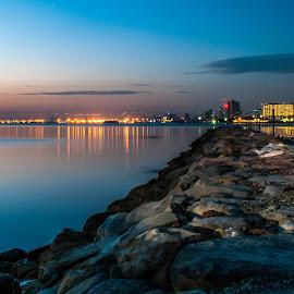 Manila on a Blue Hour by Ynon Francisco - City,  Street & Park  Skylines ( lights, skyline, bay, breakwater, sea, night, jetty, manila, rocks, philippines, city, serenity, blue, mood, factory, charity, autism, light, awareness, lighting, bulbs, LIUB, april 2nd )