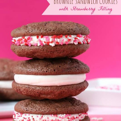 Chocolate Fudge Sandwich Cookies with Strawberry Filling