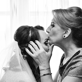 Mother love by Simion Tiberiu Stefan - Wedding Bride ( love, two, mother, wedding, white, bride, ready, instant, black )