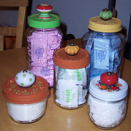 Coffee Condiments by Sandy Stevens Krassinger - Food & Drink Ingredients ( decorative, colorful, set, glass. glass jars, kitchen ware, knobs,  )