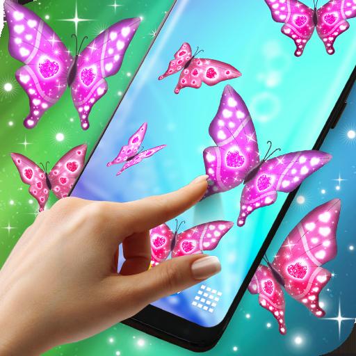 Pink Sparkly Butterflies on Screen (app)
