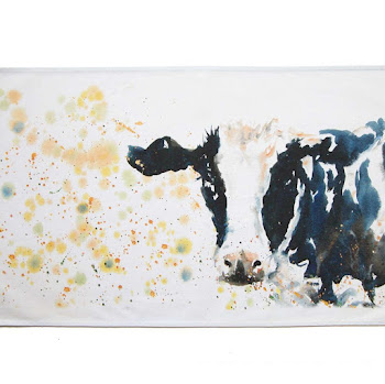 Cow tea towel British shabby chic art