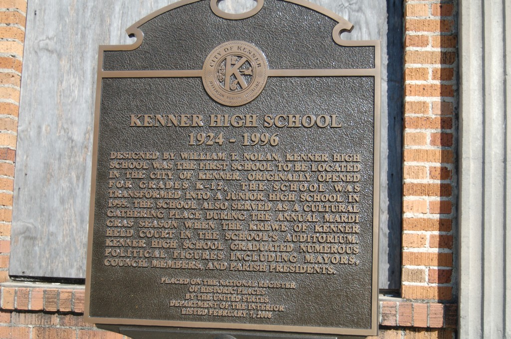 1924-1996 Designed by William T. Nolan, Kenner High School was the first school to be located in the City of Kenner. Originally opened for grades K-12, the school was transformed into a junior high ...