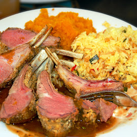 Prime Rib and Rice Plate by Robin Amaral - Food & Drink Plated Food ( fork, rice, plate, prime rib, cape cod, diner, butternut squash, dinner, carnivore, ribs, food, lifestyle, pilaf, gravy, cafe, gourmet, bread crumbs )