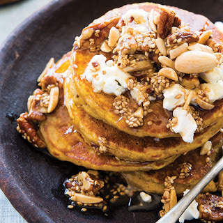 Oatmeal Butternut Pancakes with Browned Buttered Nuts