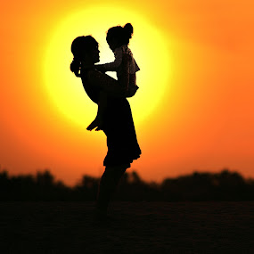 Romantic Sunset by Alit  Apriyana - People Family ( mom with kids )
