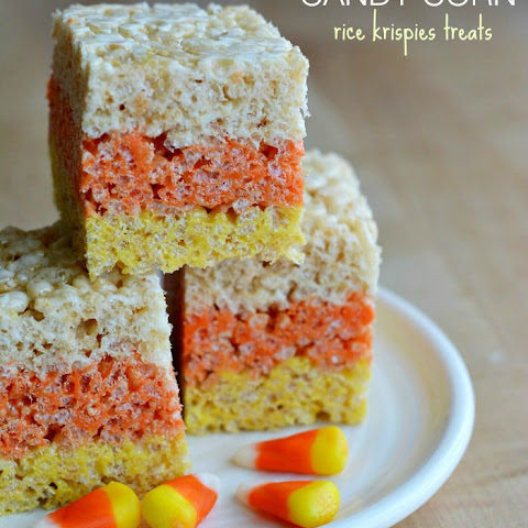 Layered Candy Corn Rice Krispies Treats