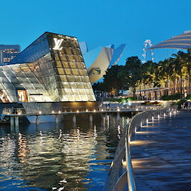 Building on the water by Koh Chip Whye - Buildings & Architecture Other Exteriors ( , mood factory, color, lighting, moods, colorful, light, bulbs, mood-lites, city at night, street at night, park at night, nightlife, night life, nighttime in the city )