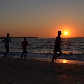 Running on the beach by Laura Vasile - Sports & Fitness Running ( boys, sea, sunrise, seaside, beach, morning, running )