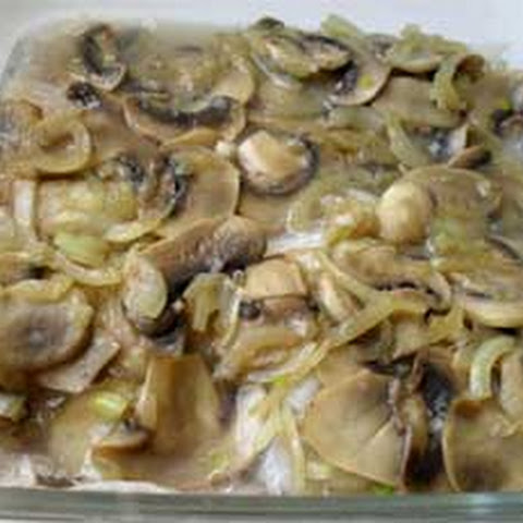 Baked Pollock with Mushrooms
