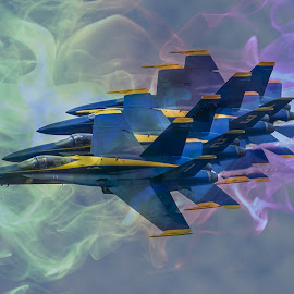Blue Angels by Rajib Bahar - Transportation Airplanes ( marine, airforce, airplanes, airplane, hornet, science fiction, military, aviation, warbird, scifi, navy, fa/18, jet, super hornet, formation, blue angels, airshow )