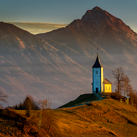Jamnik by Aleksandra Jereb - Buildings & Architecture Public & Historical ( mountains, church, jamnik, st.primož, sunrise, morning )