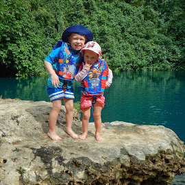 At The Blue Hole by Geoffrey Wols - Babies & Children Toddlers ( vanuatu, tropical, matevulu blue hole, children, kids, cuddle, life jacket, island,  )