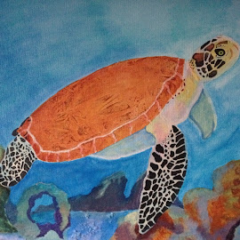 sea turtle swim by Amber O'Hara - Painting All Painting ( water, orange, blue, sea turtle, acryli, painting )