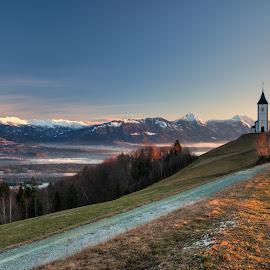 Winter morning by Ziga Camernik - Landscapes Sunsets & Sunrises ( mountain, winter, church, slovenia, jamnik, sunrise, morning )