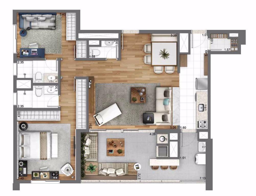 Planta Opção - 105 m²